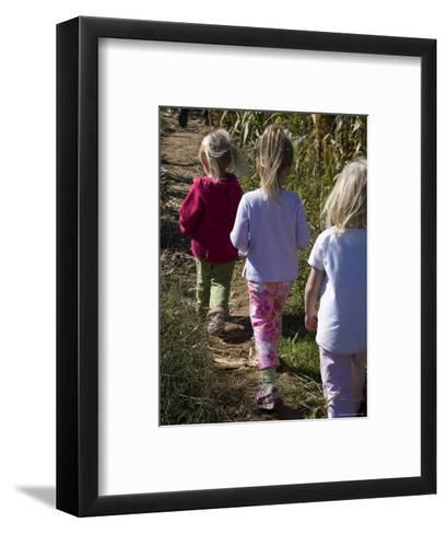 Siblings Walk Through a Corn Maze-Stacy Gold-Framed Art Print