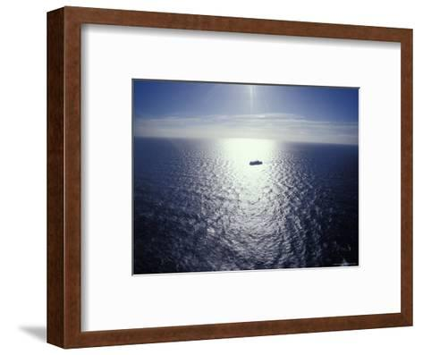 The Seismic Vessel Geco Beta Searches the Vast Ocean for Oil and Gas, Bass Strait, Australia-Jason Edwards-Framed Art Print