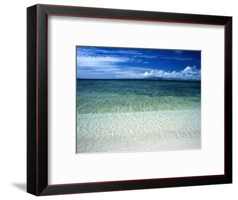 Secluded White Sands Beach on a Tropical Island with Blue Sky, Clouds-James Forte-Framed Art Print