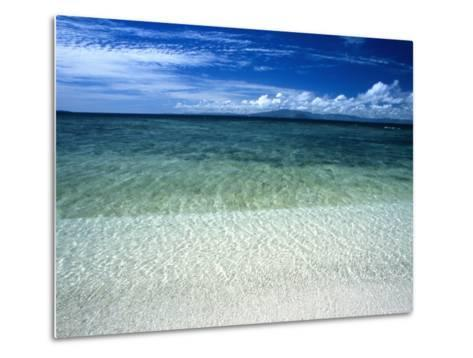 Secluded White Sands Beach on a Tropical Island with Blue Sky, Clouds-James Forte-Metal Print