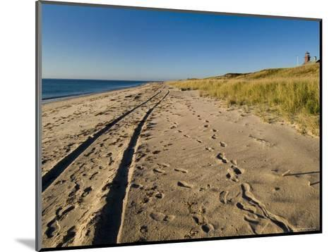 Tire Tracks and Footprints in the Sand Along a Beach by a Lighthouse, Block Island, Rhode Island-Todd Gipstein-Mounted Photographic Print