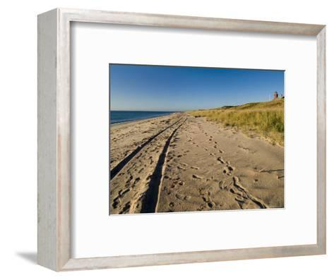 Tire Tracks and Footprints in the Sand Along a Beach by a Lighthouse, Block Island, Rhode Island-Todd Gipstein-Framed Art Print