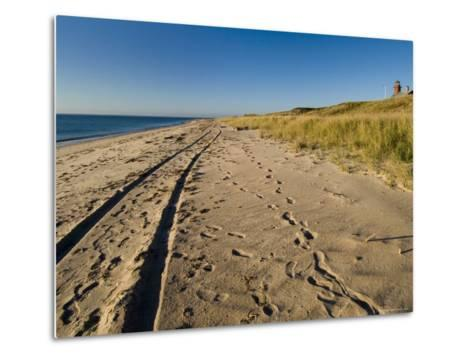 Tire Tracks and Footprints in the Sand Along a Beach by a Lighthouse, Block Island, Rhode Island-Todd Gipstein-Metal Print