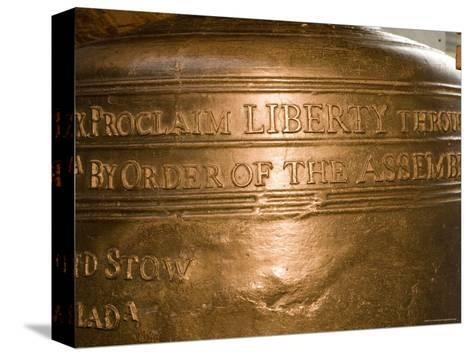 Text on the Liberty Bell-Tim Laman-Stretched Canvas Print