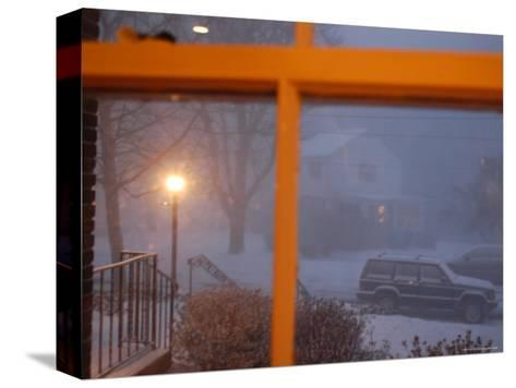 Snow Storm Through a House Window, Chevy Chase, Maryland-Stacy Gold-Stretched Canvas Print