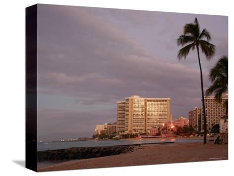 Sunrise at Waikiki Beach, Hawaii-Stacy Gold-Stretched Canvas Print