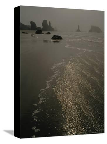 The Sun Reflects Off the Water at Bandon Beach, Oregon-Phil Schermeister-Stretched Canvas Print