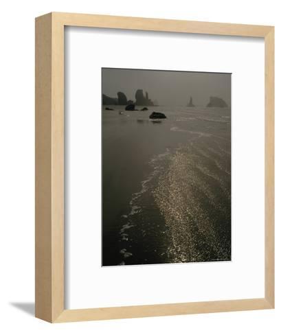 The Sun Reflects Off the Water at Bandon Beach, Oregon-Phil Schermeister-Framed Art Print