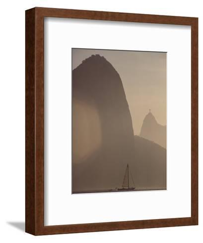 Sugar Loaf Mountain Towers above a Sailboat on Guanabara Bay-Stephanie Maze-Framed Art Print
