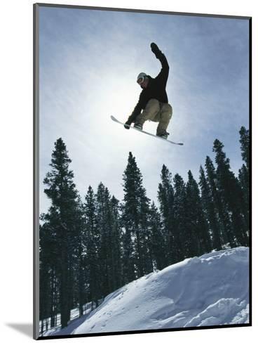 Snowboarder in Flight, Colorado-Mark Thiessen-Mounted Photographic Print