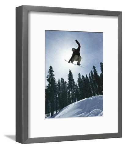 Snowboarder in Flight, Colorado-Mark Thiessen-Framed Art Print