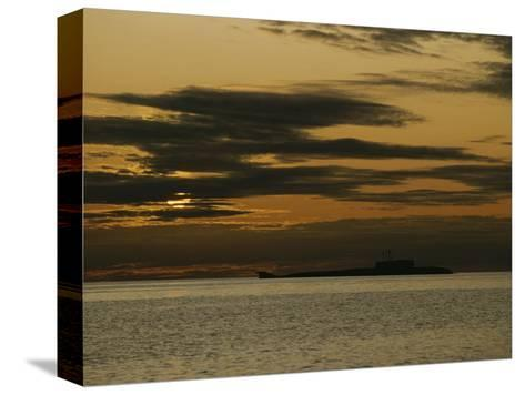 Silhouetted Russian Submarine in the White Sea-James P^ Blair-Stretched Canvas Print