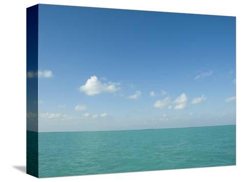 White Puffy Clouds above Turquoise Blue Caribbean Water, Ambergris Caye, Belize-James Forte-Stretched Canvas Print