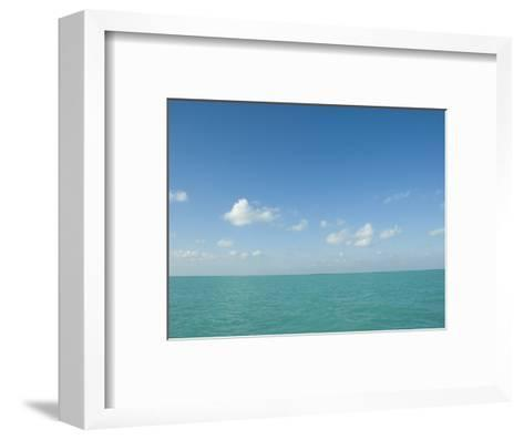 White Puffy Clouds above Turquoise Blue Caribbean Water, Ambergris Caye, Belize-James Forte-Framed Art Print