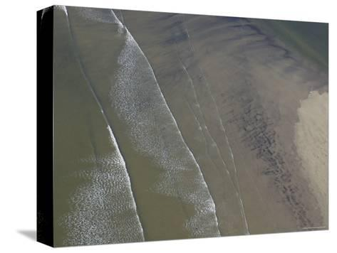 Waves Break on a Sand Bar Off the Maine Coast-Heather Perry-Stretched Canvas Print