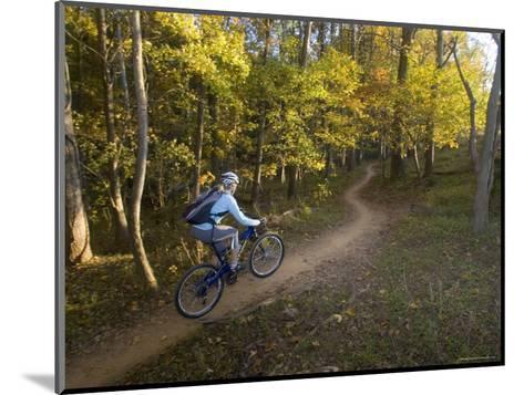 Woman Mountain Biker Rides Singletrack Trail Through Woods-Skip Brown-Mounted Photographic Print
