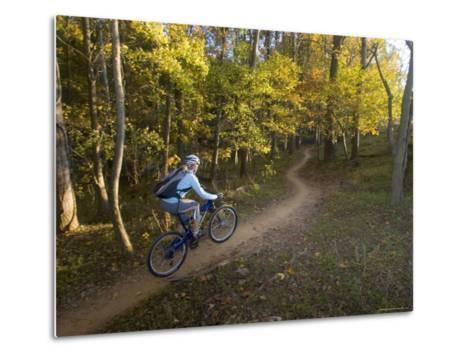 Woman Mountain Biker Rides Singletrack Trail Through Woods-Skip Brown-Metal Print