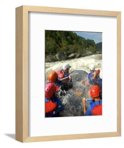 Whitewater Rafters Take on the Upper Gauley River-Skip Brown-Framed Art Print