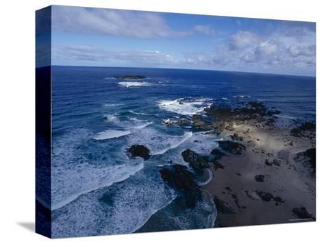 Waves Smashing Onto a Rugged Remote Coastline Beneath Storm Clouds, Australia-Jason Edwards-Stretched Canvas Print