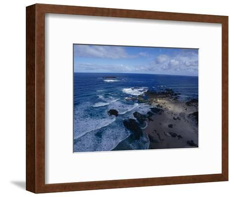 Waves Smashing Onto a Rugged Remote Coastline Beneath Storm Clouds, Australia-Jason Edwards-Framed Art Print