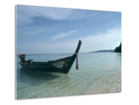 Wooden Boat Named Paradise is Tethered to a Palm Tree-Kate Thompson-Metal Print