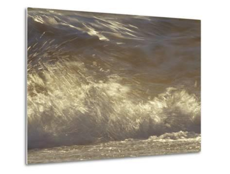 Waves Breaking Onto a Beach Turn Golden at Sunset, Coorong National Park, Australia-Jason Edwards-Metal Print