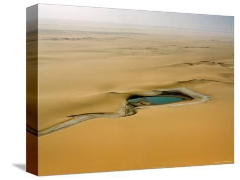 When There is Rain Water Accumulates in the Desert E of the Air Mtns, Niger-Michael Fay-Stretched Canvas Print
