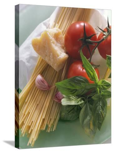 Still Life with Spaghetti, Tomatoes, Basil & Parmesan--Stretched Canvas Print