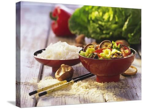 Curried Shiitake and Chinese Cabbage with Rice in Bowls-Peter Rees-Stretched Canvas Print