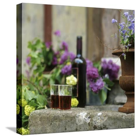 Red Wine Glasses & Red Wine Bottle on Stone Trough with Flowers-Christine Gill?-Stretched Canvas Print