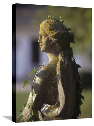 A Stone Statue in a Castle Garden-Hans-peter Siffert-Stretched Canvas Print