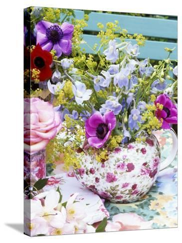 Anemones and Delphiniums in a Teapot-Linda Burgess-Stretched Canvas Print