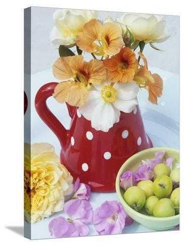 Flowers in Jug and a Bowl of Wild Apples-Linda Burgess-Stretched Canvas Print