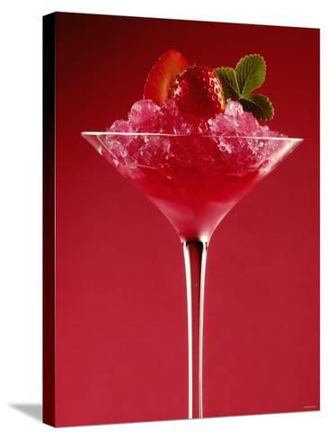 Strawberry Sorbet in a Stem Glass-Bodo A^ Schieren-Stretched Canvas Print