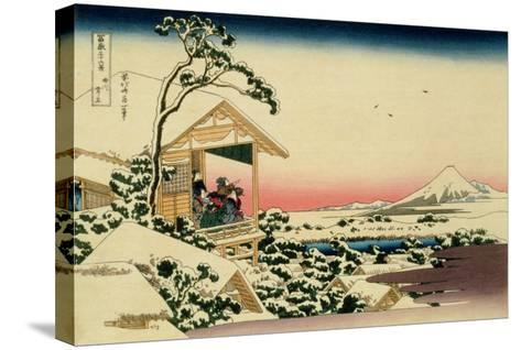 36 Views of Mount Fuji, no. 24: Tea House at Koishikawa (The Morning after a Snowfall)-Katsushika Hokusai-Stretched Canvas Print
