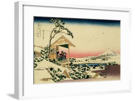36 Views of Mount Fuji, no. 24: Tea House at Koishikawa (The Morning after a Snowfall)-Katsushika Hokusai-Framed Art Print