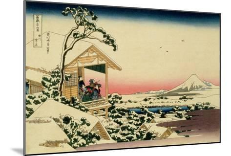 36 Views of Mount Fuji, no. 24: Tea House at Koishikawa (The Morning after a Snowfall)-Katsushika Hokusai-Mounted Giclee Print