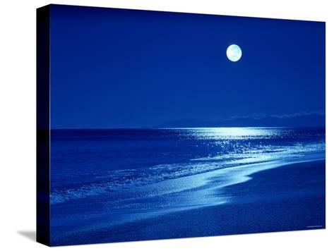 Full Moon Over the Sea--Stretched Canvas Print