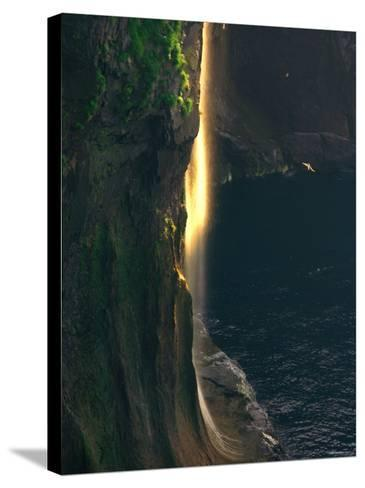 Water Falls at Sunset--Stretched Canvas Print