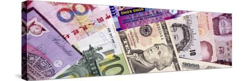 Close-Up of Assorted Currencies of Different Countries--Stretched Canvas Print