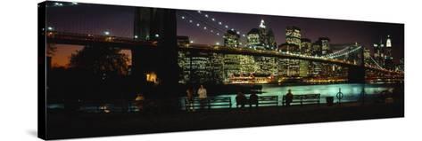 Brooklyn Bridge Lit Up at Dusk, East River, Manhattan, New York City, New York, USA--Stretched Canvas Print