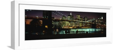 Brooklyn Bridge Lit Up at Dusk, East River, Manhattan, New York City, New York, USA--Framed Art Print