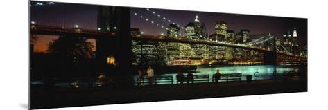 Brooklyn Bridge Lit Up at Dusk, East River, Manhattan, New York City, New York, USA--Mounted Photographic Print