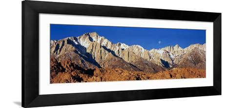 Rock Formations on a Mountain Range, Moonset over Mt Whitney, Lone Pine, California, USA--Framed Art Print