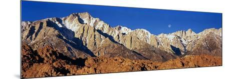 Rock Formations on a Mountain Range, Moonset over Mt Whitney, Lone Pine, California, USA--Mounted Photographic Print