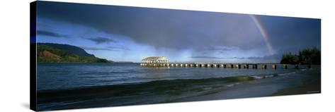 Rainbow over a Pier, Hanalei, Kauai, Hawaii, USA--Stretched Canvas Print