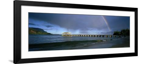 Rainbow over a Pier, Hanalei, Kauai, Hawaii, USA--Framed Art Print