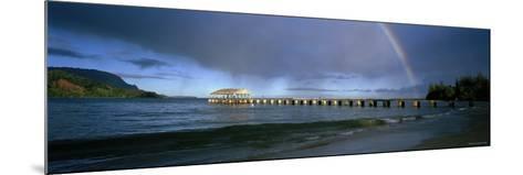 Rainbow over a Pier, Hanalei, Kauai, Hawaii, USA--Mounted Photographic Print