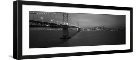 Bay Bridge Lit Up at Night, San Francisco, California, USA--Framed Art Print