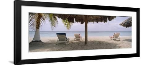 Lounge Chairs on 7-Mile Beach, Negril, Jamaica--Framed Art Print